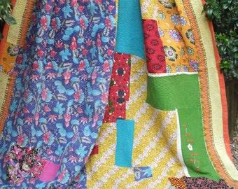 Blue and Yellow Kantha quilt,Vintage Kantha quilt,Yellow and Red Kantha Throw,Sari throw, Kantha Blanket, Kantha throw,Indian boho quilt