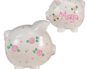 Hand Painted Personalized Rosie Posie Ceramic Piggy Bank for girls baptism new born flower girl flowergirl baby soft pretty pink PIGG-whi66