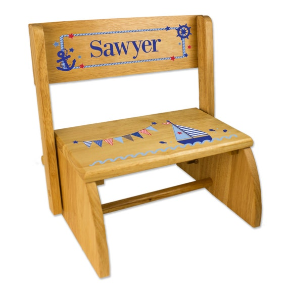 Personalized sailboat stool childs step wooden folding