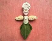 Guardian Angel, primitive altered art doll ornament, garden fairy, flower child, original assemblage angel by Elizabeth Rosen