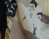 Crib Bedding Baby Bedding Blanket Nursery  Woodland Deer Tan Navy Grey