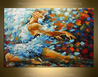 Wall Art Ballerina Painting Landscape Oil Acrylic on Canvas Modern Home Decor ready to hang