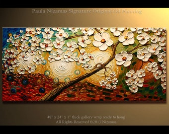 """Original 48"""" Kissed by the Sun for Love - Peaceful Painting Oil Palette Knife texture Modern style, luxury looks, thick layers"""