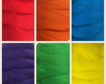 Merino wool roving in rainbow colors, needle felting, wet felting, spinning wool, weaving wool