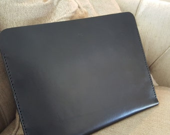 Genuine Leather Portfolio-Black with Black Stitching -No Snap - Handmade in the USA
