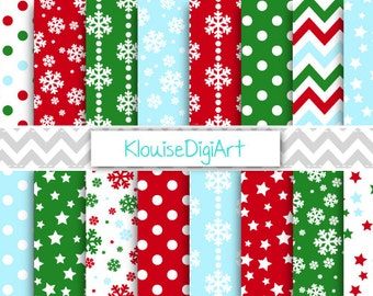 Dark Red and Green Christmas Digital Paper, Holiday Scrapbook Paper, Snowflakes, Polka Dots - Personal and Small Commercial Use (0072)