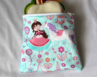 "Reusable sandwich bag, snack bag in snack print 7""x6.5"" in princess unicorn"