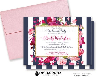 GRADUATION PARTY INVITATION College High School Grad Party Invites Stripe Navy Pink Gold Glitter Blush Roses Announcement Card - Christy