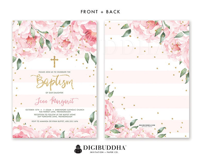 Floral baptism invitation baby girl christening invite girl baptism floral baptism invitation baby girl christening invite girl baptism invitations christening ceremony printed or diy invite solutioingenieria Gallery