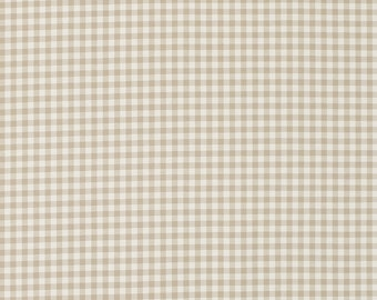 Laura Ashley beige gingham check. 100% cotton fabric.