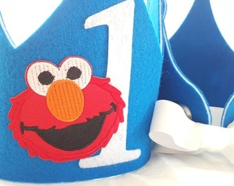 Elmo Birthday Crown - Elmo Party Hat - Sesame Street Birthday