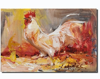 12X18CM Rooster Art Chicken Hen Barn  Original Oil canvas panel Painting