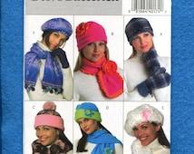Butterick 4676 Cozy Winter Hats Mitten & Scarves Pattern UNCUT