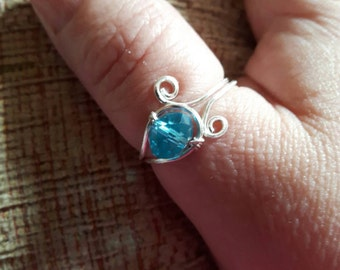 Adjustable Blue Crystal Wire Ring