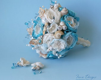 Set of teal blue color seashells wedding bouquet and 2 bobby pins