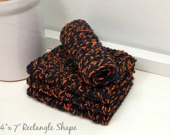Halloween Dishcloths, Black & Orange Cotton Dishcloths, Hand Crochet Dishcloths, Set of 4 American Cotton