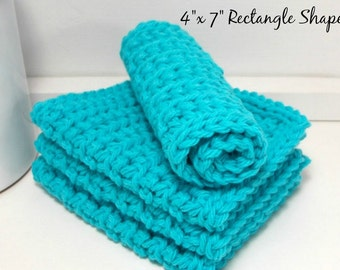 Cotton Crochet Dishcloths - Turquoise Handmade Eco-Friendly Reusable Kitchen or Bathroom Cleaning Cloth - Set of 4