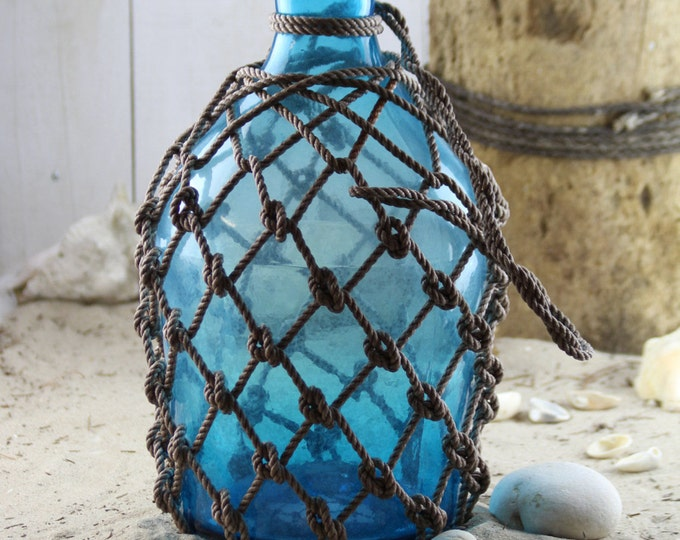 """Pirates Netted Rum Jug 18"""" Beach Decor, Blue, Glass by SEASTYLE"""