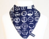 Navy travel stamps dribble bib