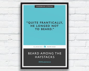 Funny Beard Print, Movember fun, DH Lawrence Literary parody, Charcoal Black art, Aqua, Penguin Classics parody, Beard Art, Printable Art