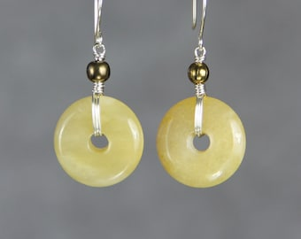 Yellow Jade copper ball hoop earrings Bridesmaids gifts Free US Shipping handmade Anni Designs