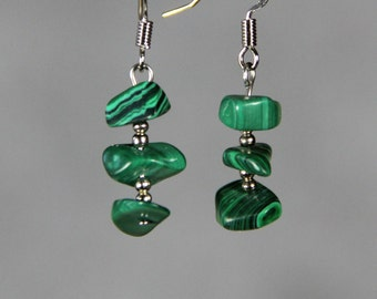 Malachite chips drop earrings Bridesmaids gifts Free US Shipping handmade Anni Designs