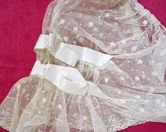 Antique Lace Edwardian Bonnet,  Lappets, Ribbons.