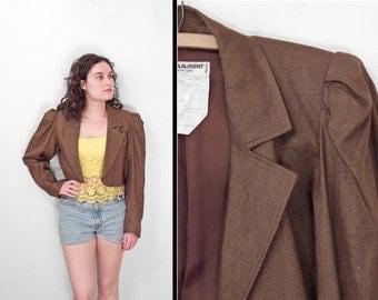 Saint LAURENT Blazer 1970s Cropped Brown Linen Bolero YSL Rive Gauche Jacket