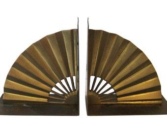 Brass Fan Bookends