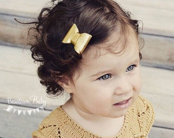Gold Barrette. Gold Bow. Gold Toddler Barrette. Gold Flower Girl Bow, Gold Special Occasion Barrette. Gold Baby Bow. Baby Bow Gold