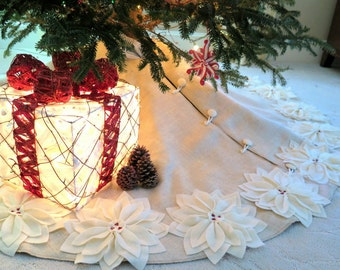 "65"" Christmas Tree Skirt in a Light Natural Burlap with Ivory Hand cut Poinsettas around the Perimeter. ""FREE SHIPPING"""