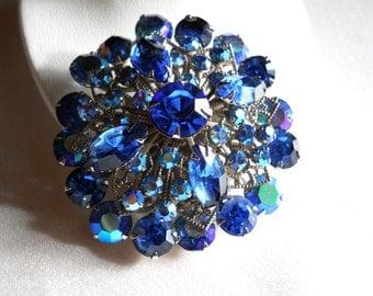 Blue and AB Rhinestone Brooch Pin Vintage Beautiful!