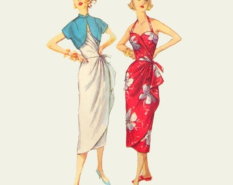 1950s Style Asymmetrical Sarong Side Drape Tiki Halter Dress Custom Made in Your Size From a Vintage Pattern