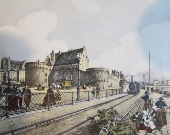 Pair of French framed, beautiful little prints of Nantes