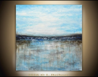 Landscape painting original large painting 36x36 square abstract oil painting ocean blue seascape modern art by L.Beiboer