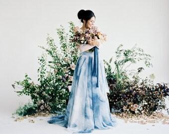 "Wedding Skirt - Tennyson - Handpainted Skirt  10"" Train- Chiffon Skirt - Colored Wedding Dress - Blue Wedding Dress - Wedding Separates"
