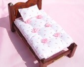 Dollhouse Bed Miniature Single Mahogany Rope Bed Dollhouse Mattress and Pillow Smalll Doll Bed 12th Scale Bed Miniature Rope Bed Doll Bed