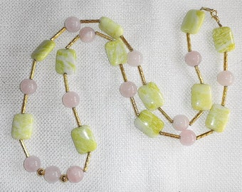 Peridot Jasper & Rose Quartz Necklace Beautiful Translucent Lime Green with Cream and Pretty Pink Long Boho Bigger Bead Necklace Bright