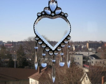 Heart Suncatcher Beveled Heart Clear Crystals Stained Glass Suncatcher Stained Glass Heart Heart Handcrafted Made in USA