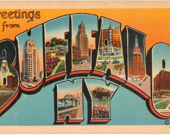 Linen Postcard, Greetings from Buffalo, New York, Large Letter