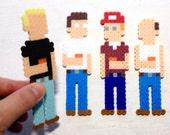 King of the Hill Retro Art. 8 bit Pixel Art. Perler Bead Magnets. Hank, Bill, Dale, Boomhauer. Mini-Pix Characters.