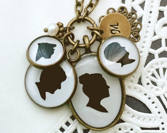Four pendant custom silhouette necklace on 30 inch brass chain for mother or grandmother