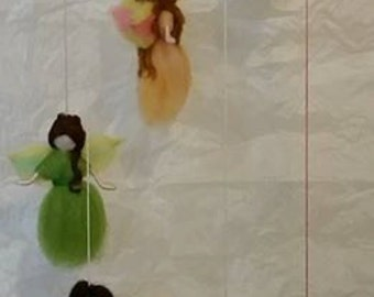 Small Winged Fairy Mobile, 6 Needle Felted Fairies Handmade Baby Mobile Nursery Decoration