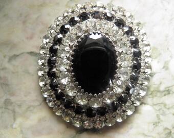 Dazzling Rare Oversized Saphire and Diamond ( Rhinestone ) Brooch