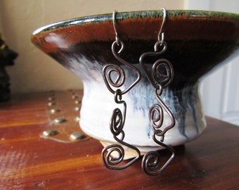 "Handmade oxidized copper earrings - 3"" - 'Spiral II'"
