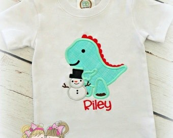 Boys Christmas shirt - Dinosaur Christmas shirt - winter dinosaur - dinosaur holding snowman - custom embroidered shirt