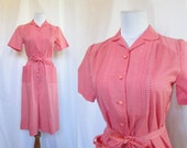 Vintage 70s Dress // Vintage 40s Style Dress // Vintage Day Dress //   A Nancy Frock // Medium Vintage Dress