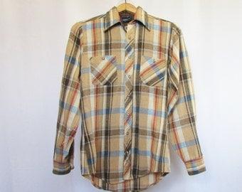 Vintage Plaid Shirt Tall Man 90s M 15 - 15.5