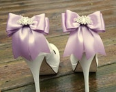 Wedding Shoe Clips,Bridal Shoe Clips,  Rhinestone Shoe Clips, Lilac MANY COLORS, Satin Bow Shoe Clips, Clips for Wedding Shoes, Bridal Shoes
