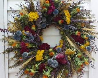 Medium Dried Flower Indoor Fall Wreath with Colorful Flowers